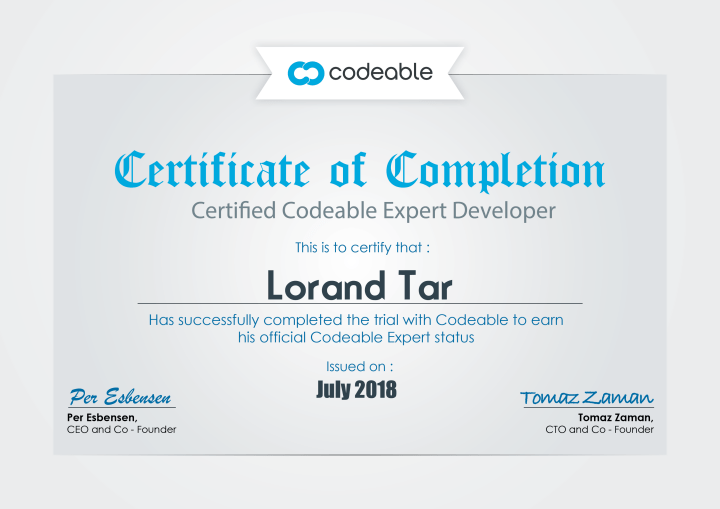 Lorand Tar - Certified Codeable Expert
